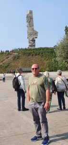 Steve at the monument at Westerplatte