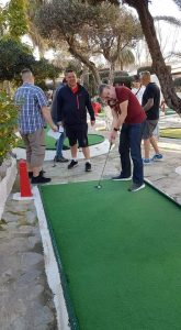 The Benidorm crazy golf open 2020. Russell goes for a whole in 1.